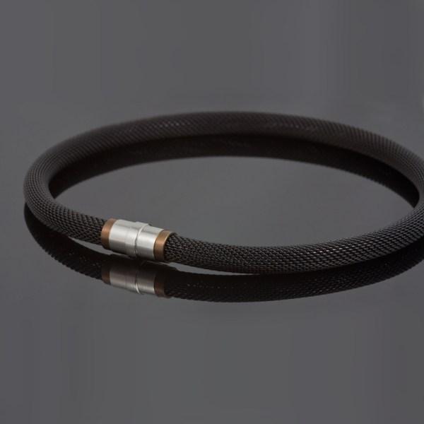 Collier 'Milanetic', 10 mm zwart, met bruin titanium