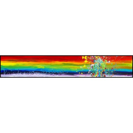 VERKOCHT! 'Rainbowpainting', 250 x 40 cm