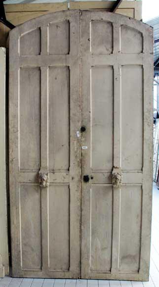 Narrow wooden double door  Doors