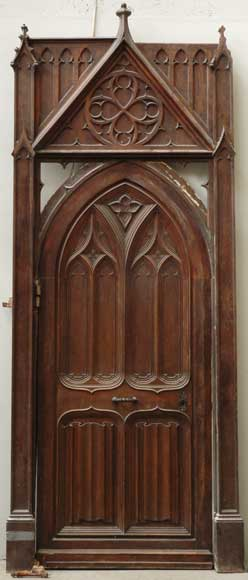 NeoGothic oak and walnut door  Doors
