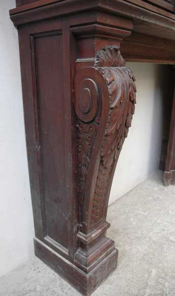 Antique Mahogany Mantel Piece With Overmantel Wood
