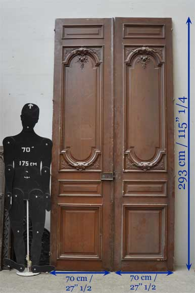 Pair of antique double wooden and stucco doors  Doors