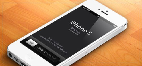 3D iPhone 5 Psd Vector Mockup v2 – White Version