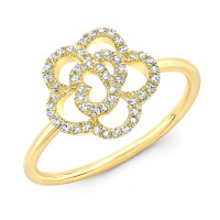 14KT Yellow Gold Diamond Camellia Flower Ring - Rings