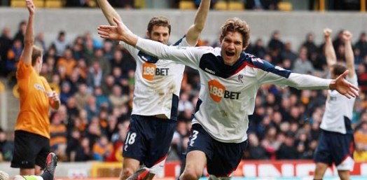 Marcos celebrates scoring his first Premier League goal | Photograph courtesy of BWFC
