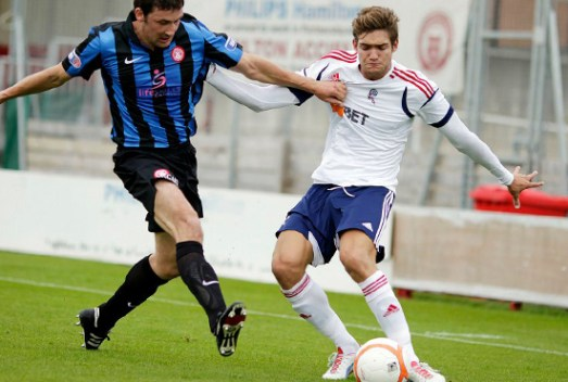 Marcos in action versus Hamilton | Photograph courtesy of BWFC