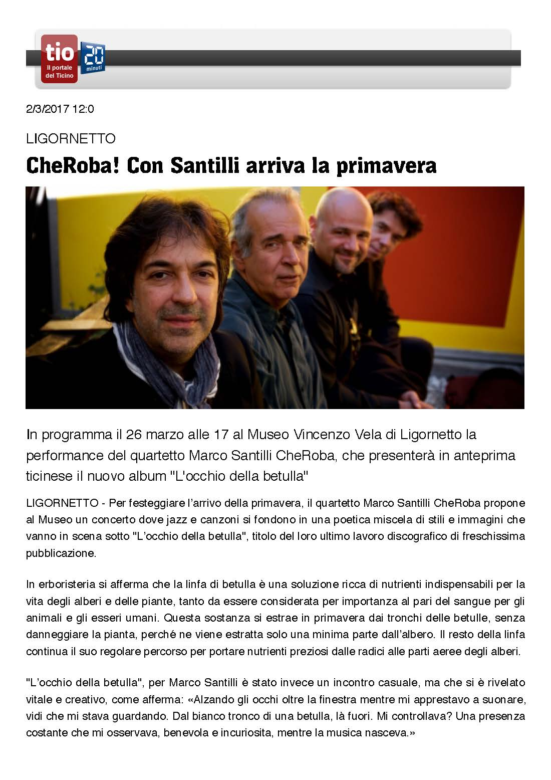 CheRoba concert announcement tio/20minuti online - Marco Santilli