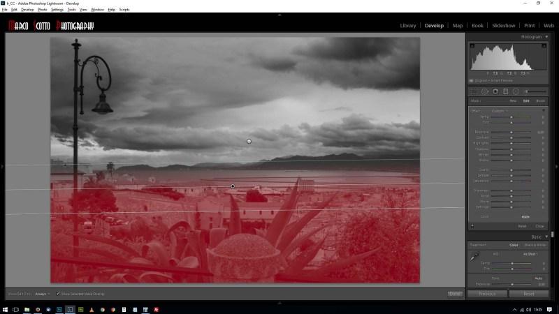impostazioni del filtro graduato per la parte inferiore dell'immagine
