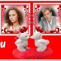 Fotomontaje de amor Love You para dos fotos