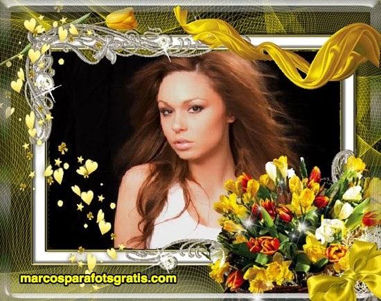 marco amarillo con flores