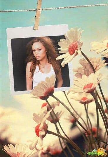 fotomontaje de foto polaroid con margaritas