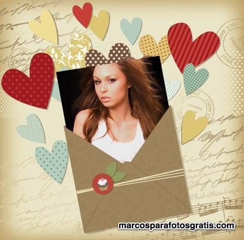 marcos de cartas y corazones