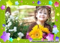 Hermoso marco infantil verde con estrellas para aplicar a tus fotos