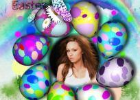 Fotomontaje de Pascua con huevos de chocolate
