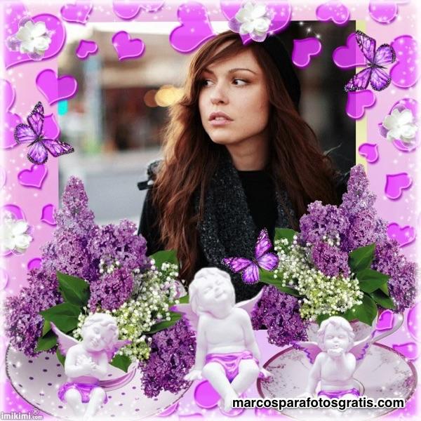 Marco para fotos violeta con corazones y angeles