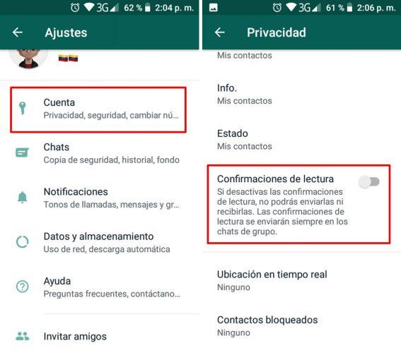 Leer los mensajes de WhatsApp sin que lo sepa confirmaciones de lectura