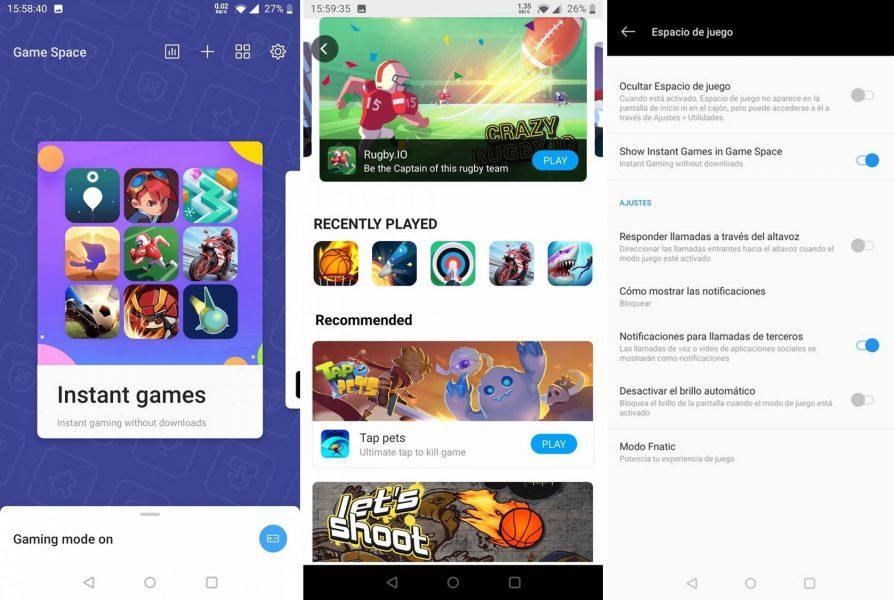 App OnePlus Game Space Juegos instantáneos