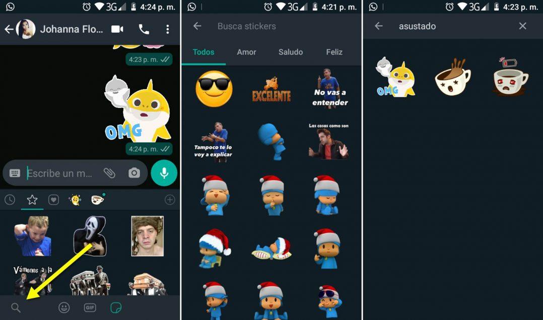 Buscador de stickers en WhatsApp, Android e iOS