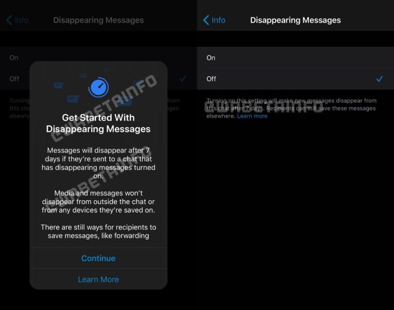 Mensajes temporales en WhatsApp, actualización