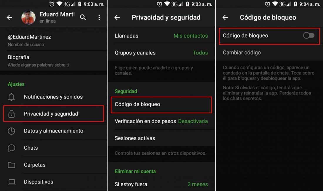 Proteger chats de Telegram con código de bloqueo