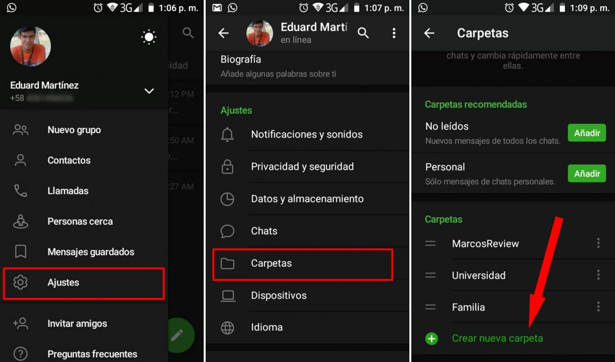 Crear carpetas en Telegram tutorial