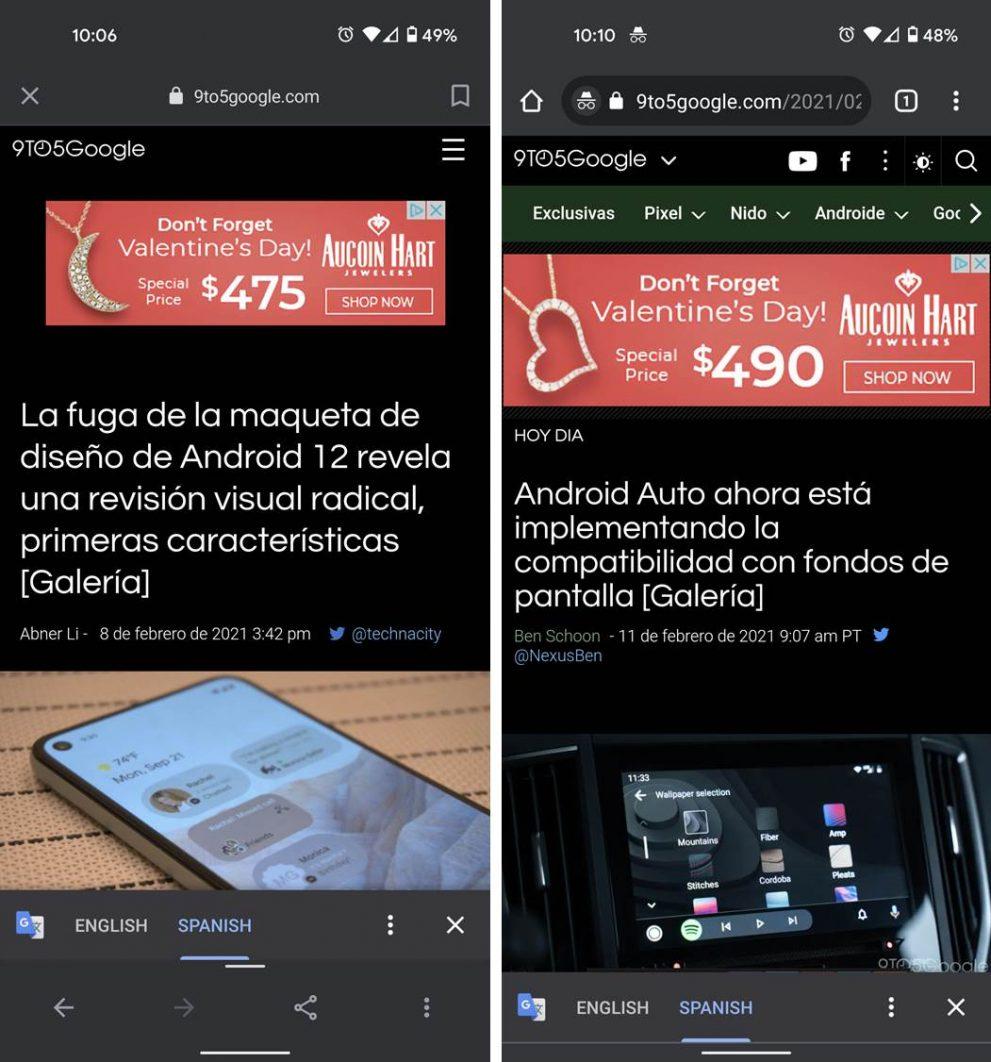 Navegador de Google App Traducri texto