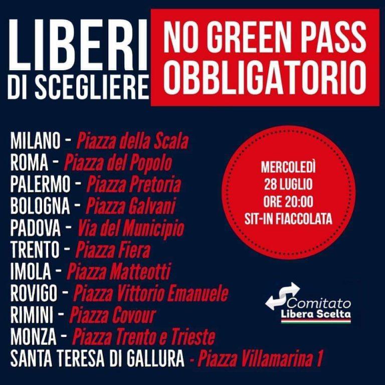 Contro il Greenpass, Inutile e Pericoloso. Domani e Sabato 31 Luglio, in Tutta Italia.