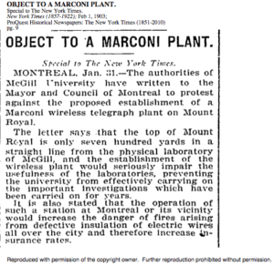 McGill objects to Marconi plant on Mount Royal