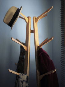 This wooden solid built coat and hat stand in reclaimed wood has been bought for many large London offices and homes across the UK. The in upcycled coat hanger hooks were inspired by our local countryside woodland and are prefect for hats, coats, scarves and bag storage. Small spaces will benefit from the compact nature with its narrow and tall dimensions.