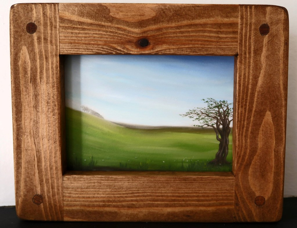 Jess Purser original artwork framed by Marc wood Joinery Somerset UK, handmade from eco reclaimed wood.