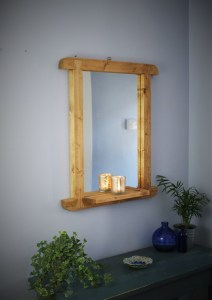Tall Somerset farmhouse and church style wooden framed mirror with candle shelf.