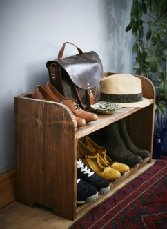 Our shoe rack is designed and handmade by Marc Wood Joinery from real, solid eco reclaimed and sustainable wood in rural Somerset UK