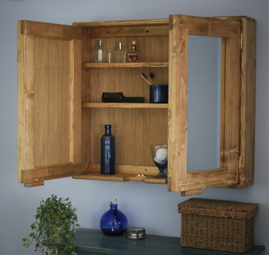 Our large bathroom cabinet with double mirrored doors measures 70 cm height X 80 cm width and 16.5 cm deep and is handmade by us in Somerset near Bath, Bristol, Exeter, Devon and Dorset