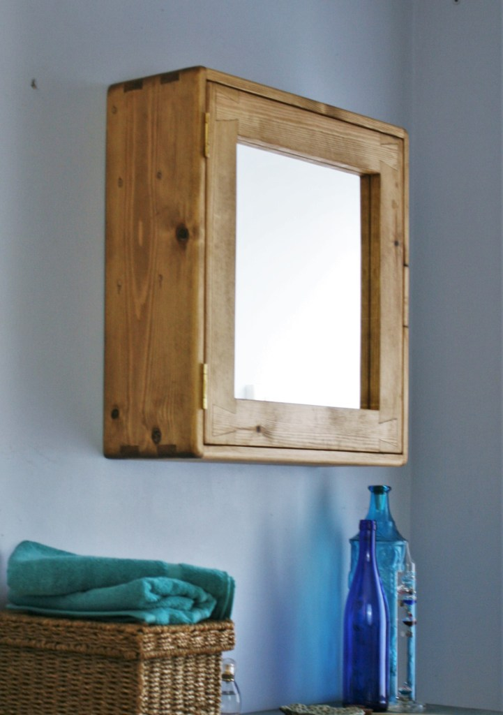 bathroom cabinet with single mirror door, large size in natural sustainable wood