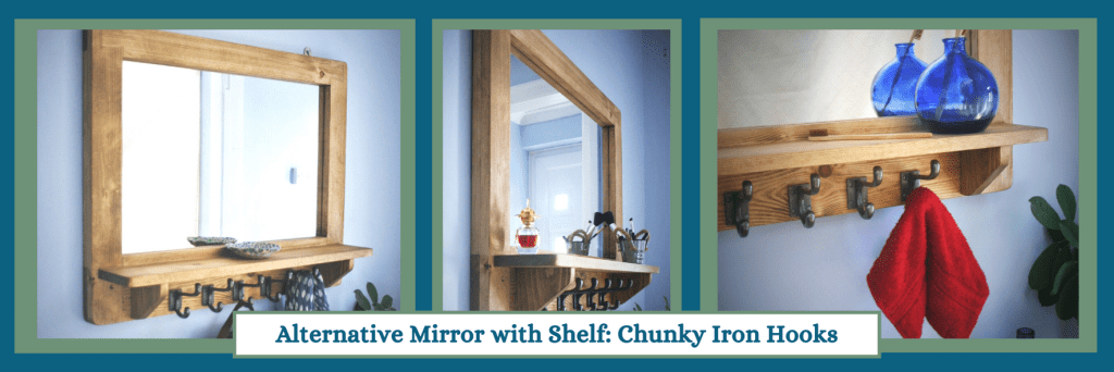 Large mirror with shelf and chunky hooks in the modern rustic, farmhouse style. Custom handmade from natural solid wood by Marc Wood Joinery in Somerset UK.