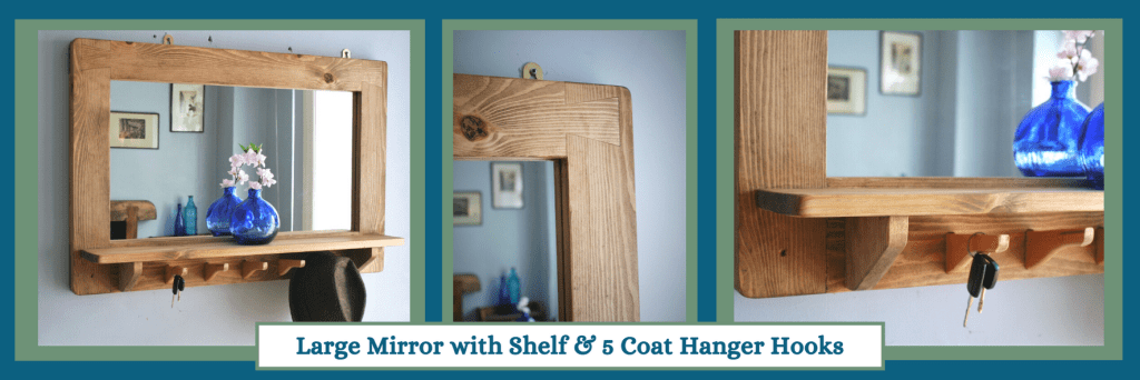 Large mirror with shelf and coat hooks in the modern rustic, farmhouse style. Custom handmade from natural solid wood by Marc Wood Joinery in Somerset UK.