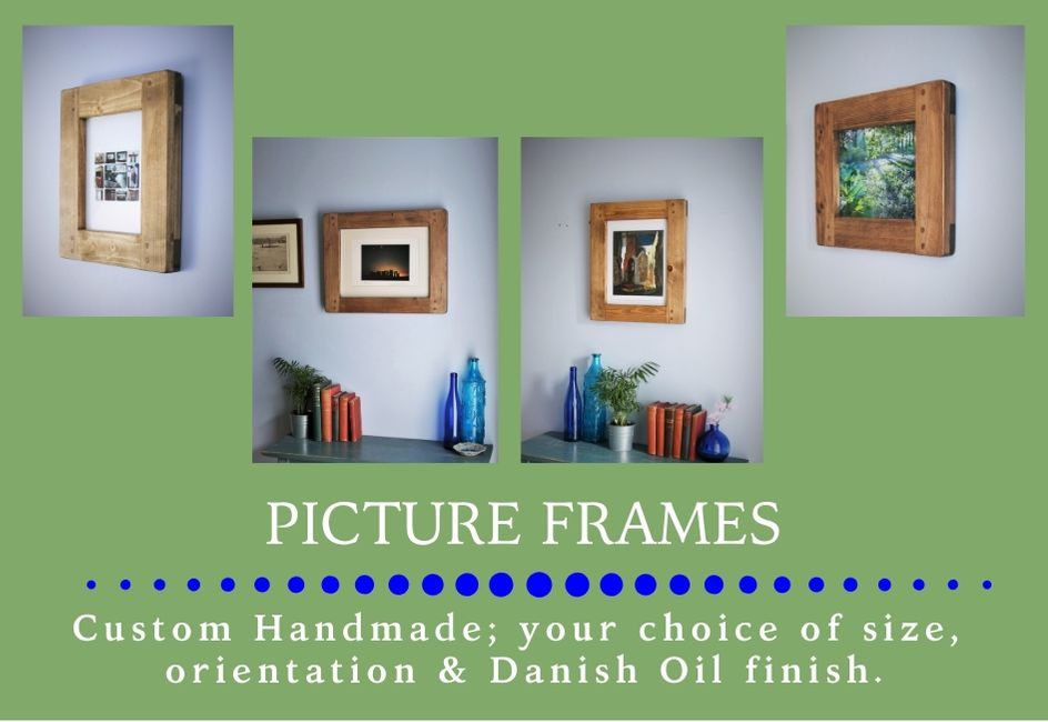 custom handmade chunky wooden picture frames from sustainable natural wood, designed and handcrafted by Marc and the team at Marc Wood Joinery in Somerset UK using traditional joinery technique. Our in house bespoke homeware accessories and furniture designs mix country farmhouse natural timber textures with a sleek modern shape for a unique range of high quality furniture and home décor.