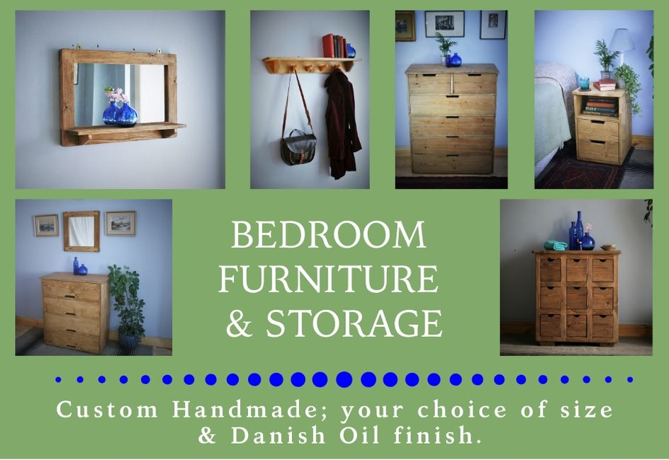 custom handmade modern rustic bedroom furniture & storage from natural wood, designed and handcrafted by Marc and the team at Marc Wood Joinery in Somerset UK using traditional joinery technique. Our in house bedroom furniture designs mix country farmhouse natural timber textures with our signature decorative dovetail joint and a sleek modern shape for a unique range of high quality furniture and home décor.