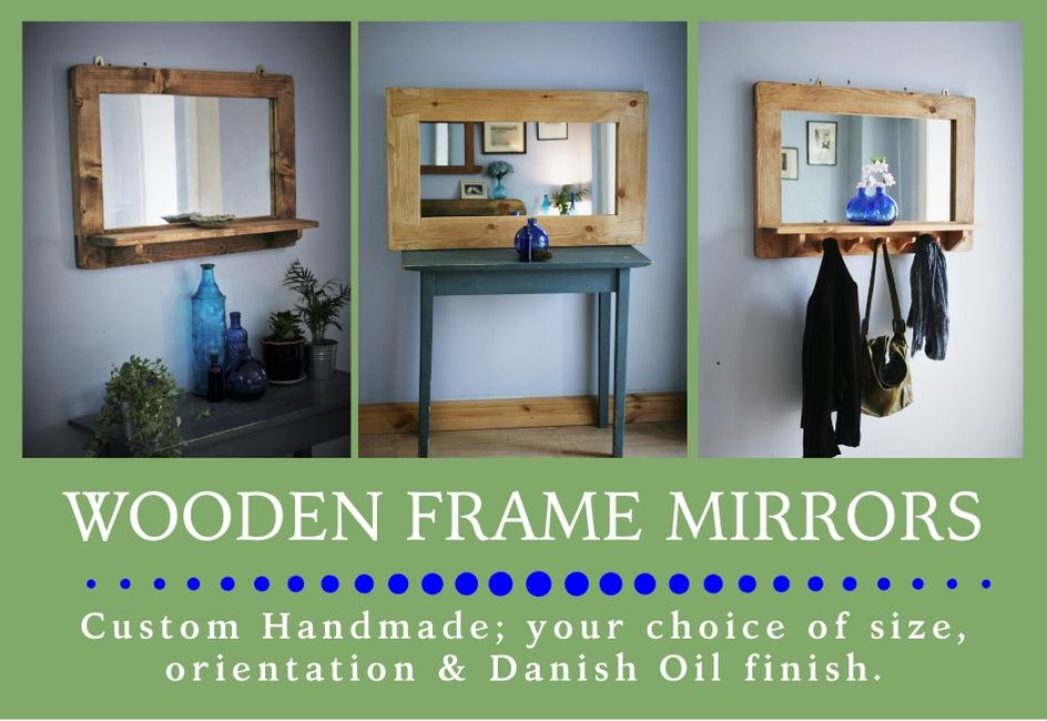 custom handmade modern rustic wooden frame mirrors from natural wood, designed and handcrafted by Marc and the team at Marc Wood Joinery in Somerset UK using traditional joinery technique. Our in house wall mirror and furniture designs mix country farmhouse natural timber textures with our signature decorative dovetail joint and a sleek modern shape for a unique range of high quality furniture and home décor.