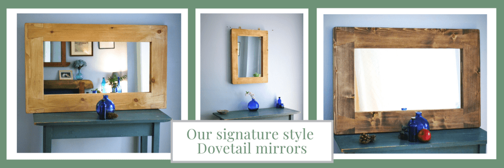 Large modern rustic wall mirror in sustainable natural wood. Wooden frame mirrors custom handmade by Marc Wood Joinery in Somerset UK