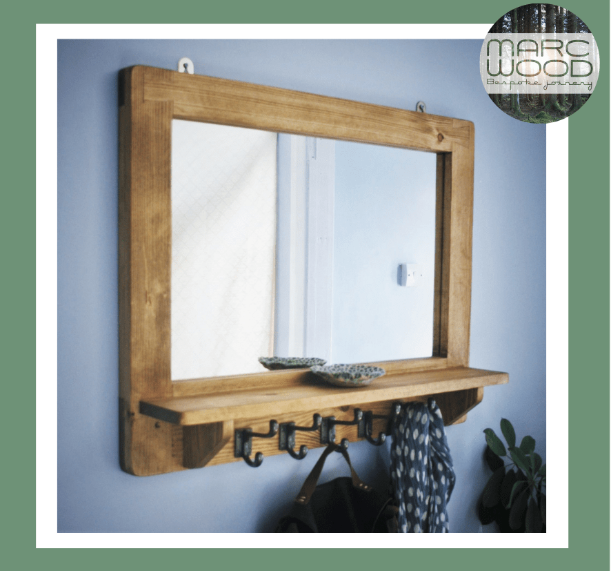 Mirror with shelf and 5 iron coat hooks in sustainable natural wood. Rustic furniture by Marc Wood Joinery in Somerset UK, buy from our online shop.