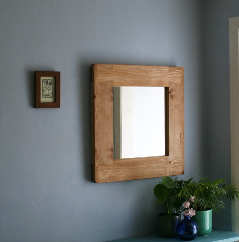 wide frame wooden mirror, modern rustic, farmhouse style. Custom handmade from natural solid wood by Marc Wood Joinery in Somerset UK.