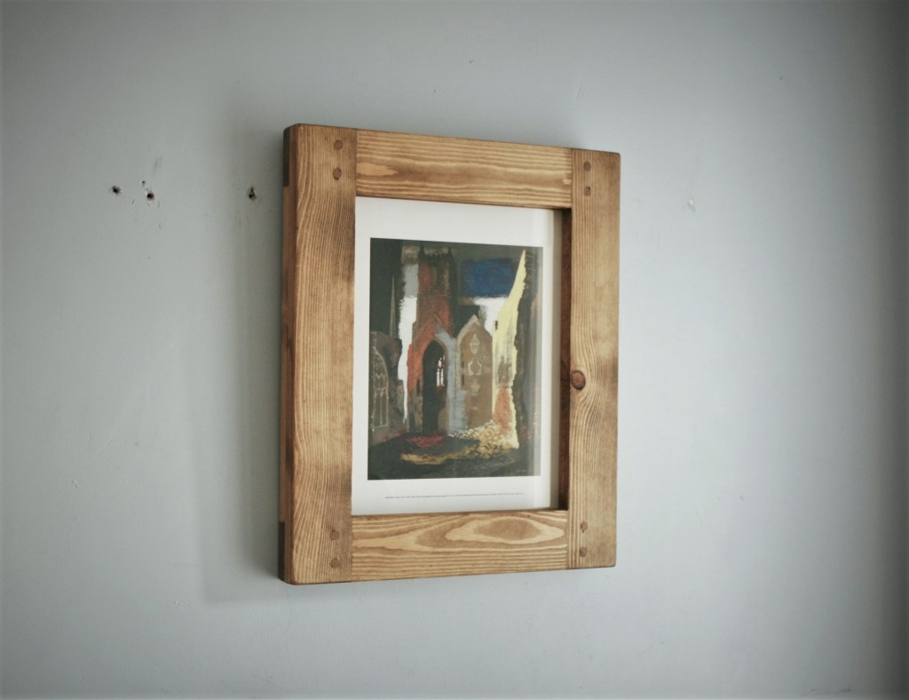 Chunky large wooden photo and picture frame, postcard A3 or 11 x 14 inch, industrial, farmhouse style, custom handmade from rustic light natural wood in Somerset