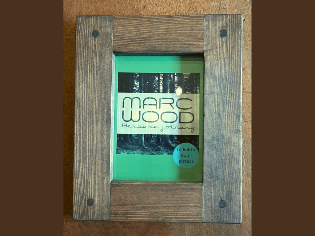 Chunky wooden photo and picture frame for 5 x 7 size, handmade from rustic dark natural wood in Somerset UK