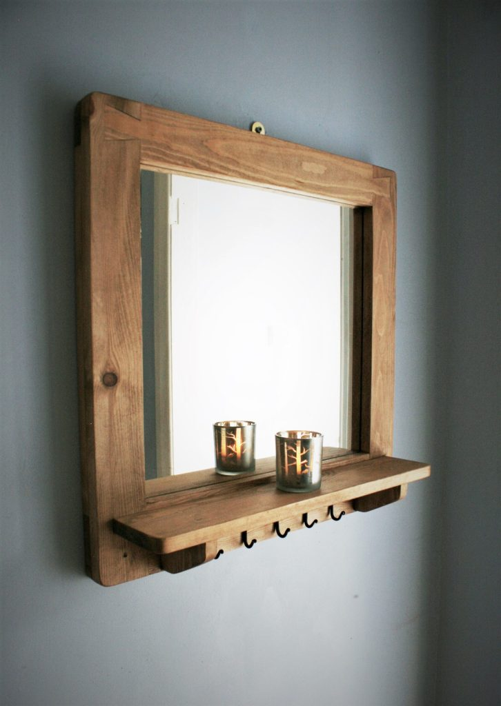 Square wooden frame wall mirror with shelf and 5 small iron coat key hooks