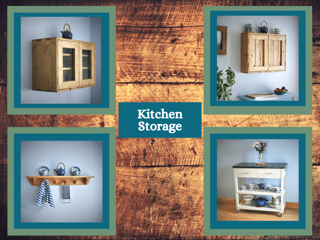 Wooden kitchen cabinet, island trolley and storage shelves, modern rustic, custom handmade by Marc Wood Joinery in Somerset UK