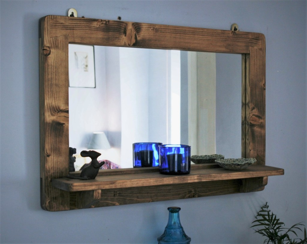Large dark wooden frame wall mirror with shelf,