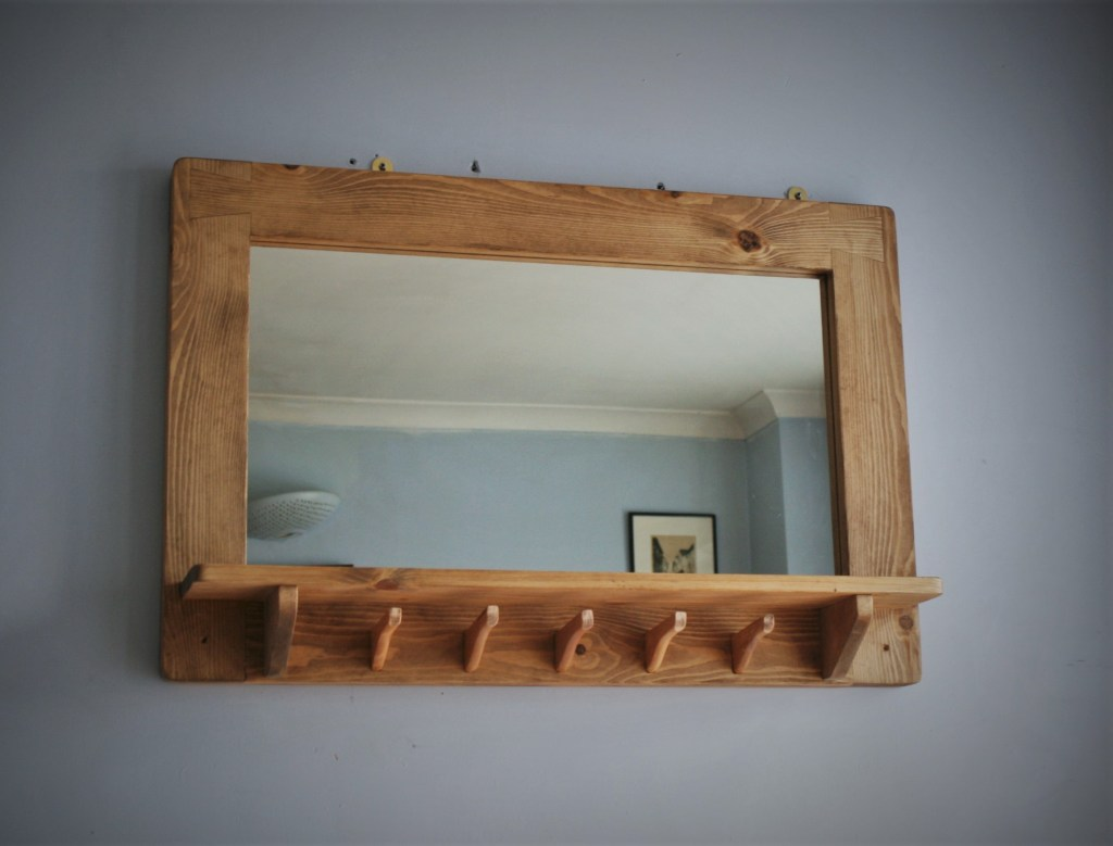 Large wooden mirror with shelf and 5 coat hanger hooks