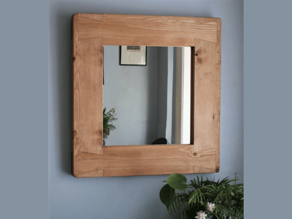 wooden wall mirror 63W x 65Hcm extra wide 12 cm frame, handmade in Somerset UK