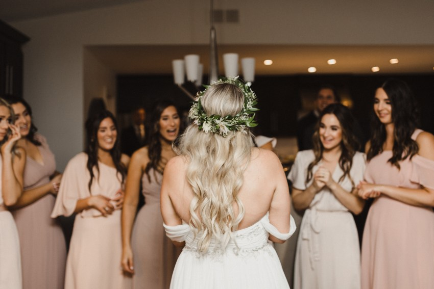 bridesmaids seeing bride for first time wedding photography toronto ontario